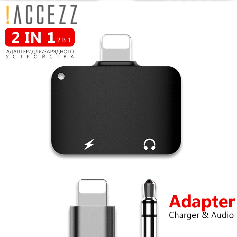 !ACCEZZ Mini 2 IN 1 Lighting Listen Charging Converter For Iphone X 8 7 Plus XS MAX XR 3.5mm Headphone Jack Adapter AUX Splitter