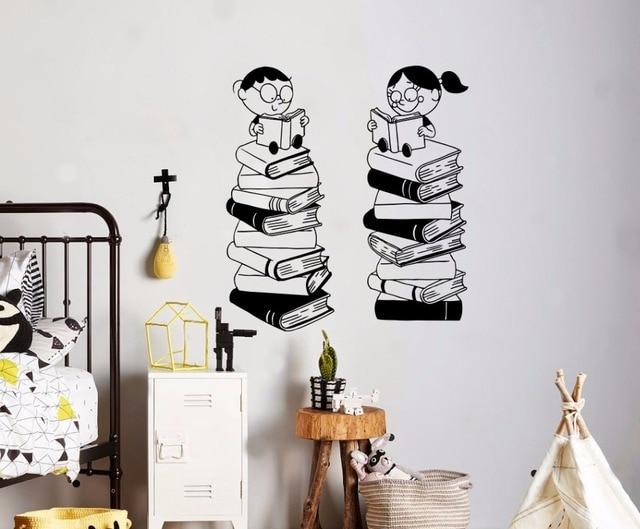 Yoyoyu Art Home Decor Little Boys And Girls Read Books Wall Decal