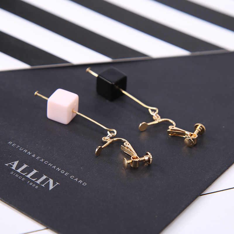 Rose noir blanc cubique pierre doré oreille crochet & Clip femmes boucles d'oreilles pendantes boucles d'oreilles 6 sortes