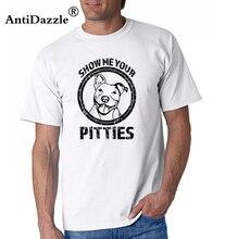 311512c74 T Shirts Funny Pitbull Shirt Show Me Your Pitties Pit Bull Men's 100%  Cotton Short