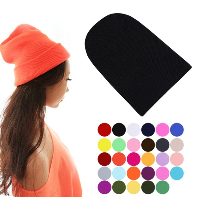 Winter Warm Unsex Knitting Women Men Wool Fluorescence Color Tabby Solid Elastic Beanie Hedging Hat Hats