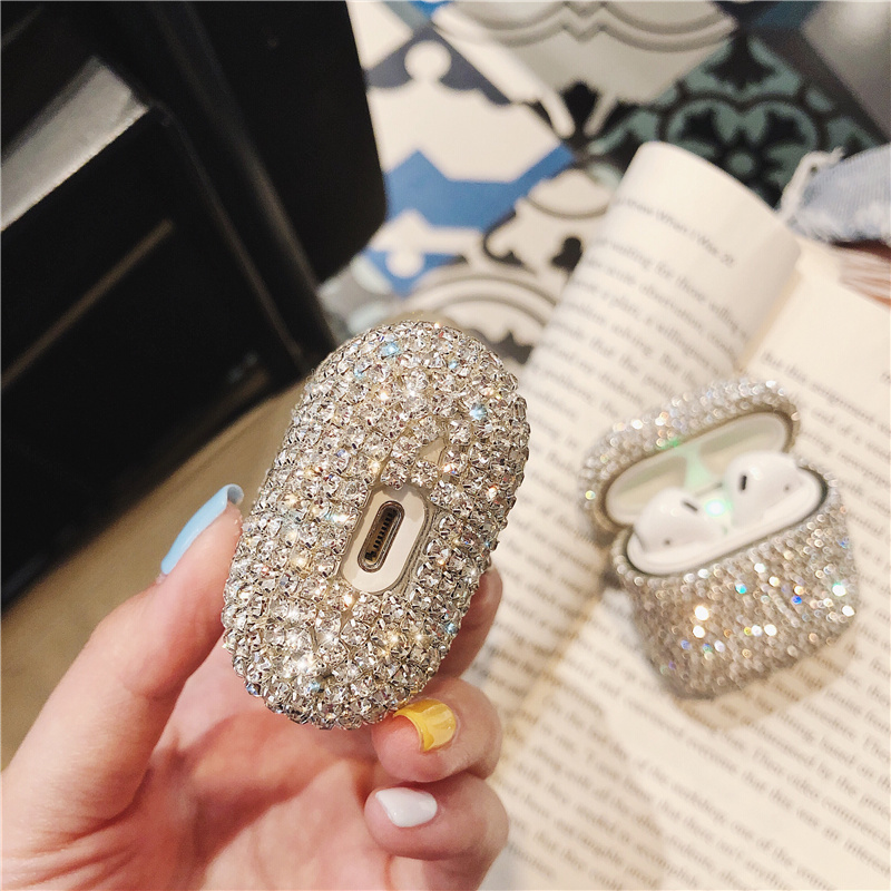 Image 5 - Luxury 3D Bling diamonds hard case for Apple Airpods 1 2  protective Wireless Bluetooth Earphone Accessories cover Charging box-in Earphone Accessories from Consumer Electronics