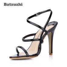 Batzuzhi Fashion Women Sandal Shoes Open Toe Slingback Black Summer Designer Shoes, Big Size 35-43