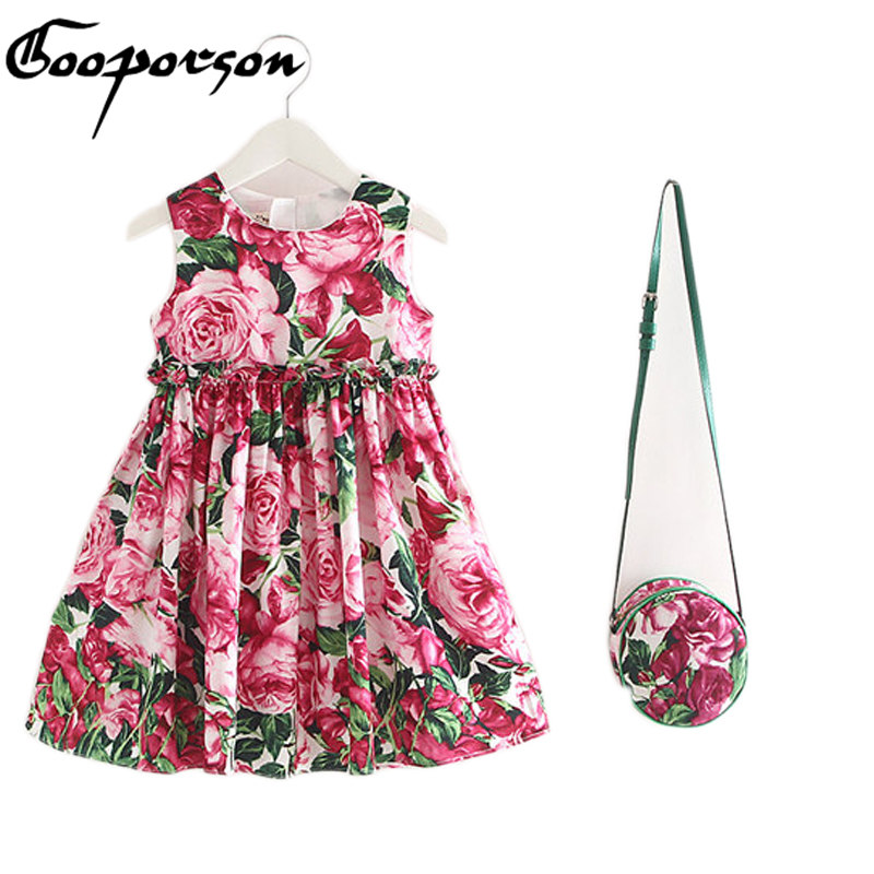 Girls Summer Dress With Bag Ice Cream Printed Sleeveless Party Dress For Baby Girl High Quality Girls Dress New Fashion calvin klein new cream woven panel sleeveless dress msrp $229 dbfl