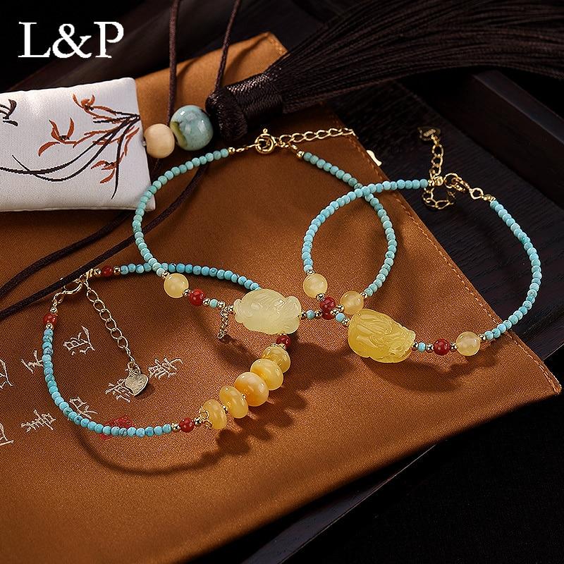 2019 New 925 Sterling Silver Retro High Grade Amber Beeswax Natural Gemstone handmade Bracelet Luxury Fine