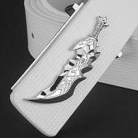 High Quality Personality Knife Shape Belt Men Genuine Leather Designer Cintos Masculinos White Strap For Male