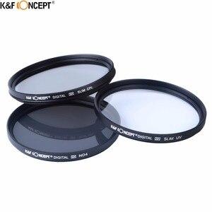Image 3 - K & F konsept marka UV CPL ND4 kamera Lens filtresi 52/55/58/62/67/72/77mm temizleme bezi + filtre kılıfı Nikon Canon DSLR kamera için