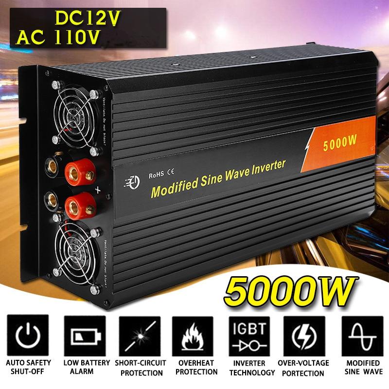 KROAK inversor 12V 110 V/220 V 10000W picos de onda sinusoidal modificada de 5000W transformador de tensión del convertidor/inversor de potencia de carga de coche USB