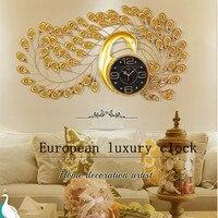 Geekcook Peacock Quartz Wall Clock European Modern Simple PersonalityCreative Living Room Decorated Bedroom Silent Wall Clock