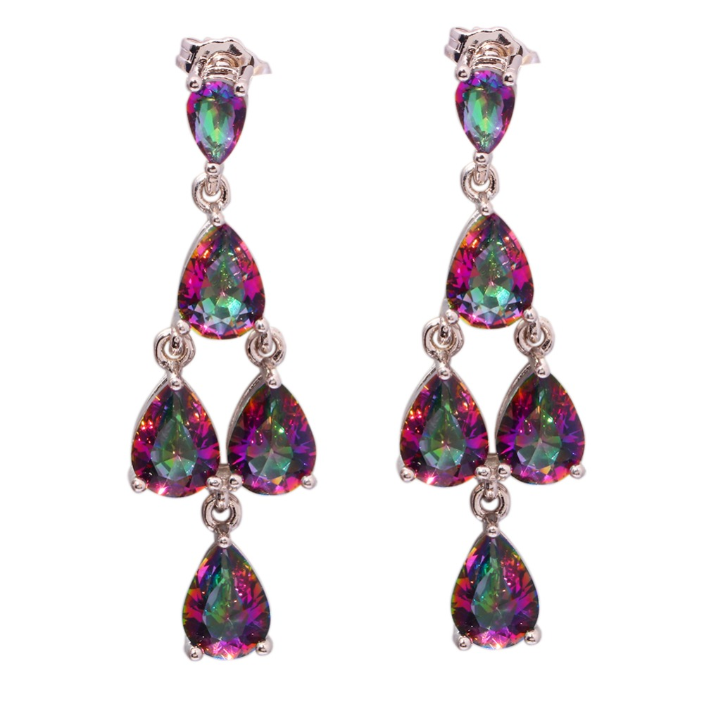 Mystic Zircon Fashion Party Gift Generous Wholesale Retail for Women Jewelry Silver Plated Earrings 1 5