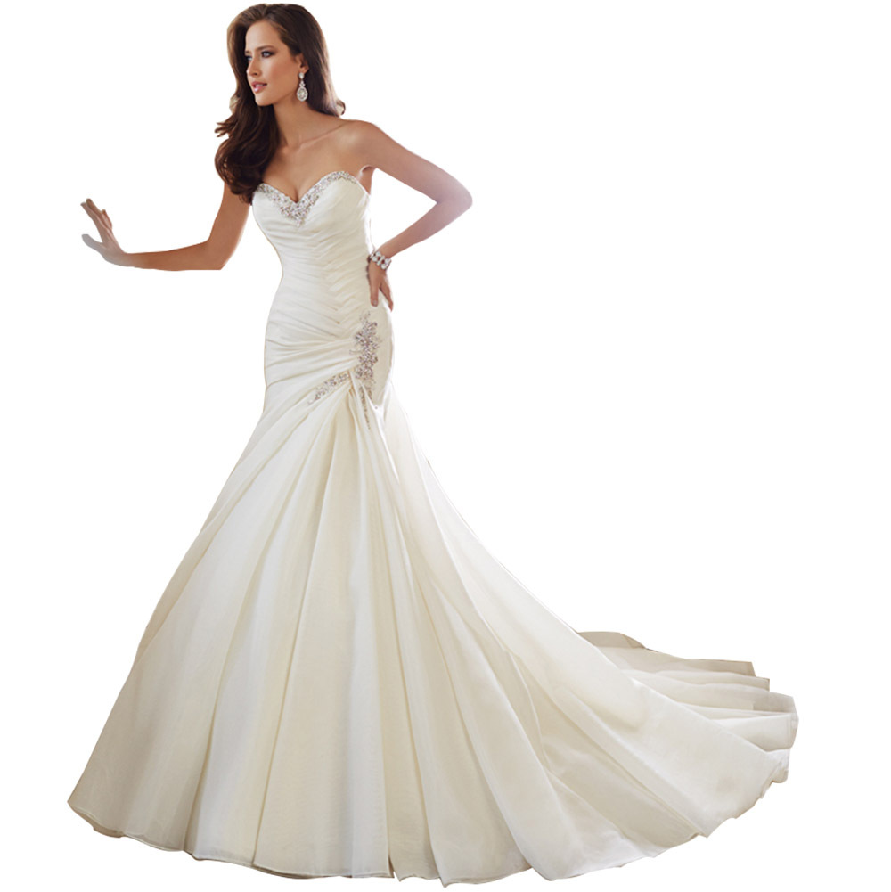 2016 vintage ivory mermaid wedding dresses bridal gown for Mermaid wedding dresses plus size