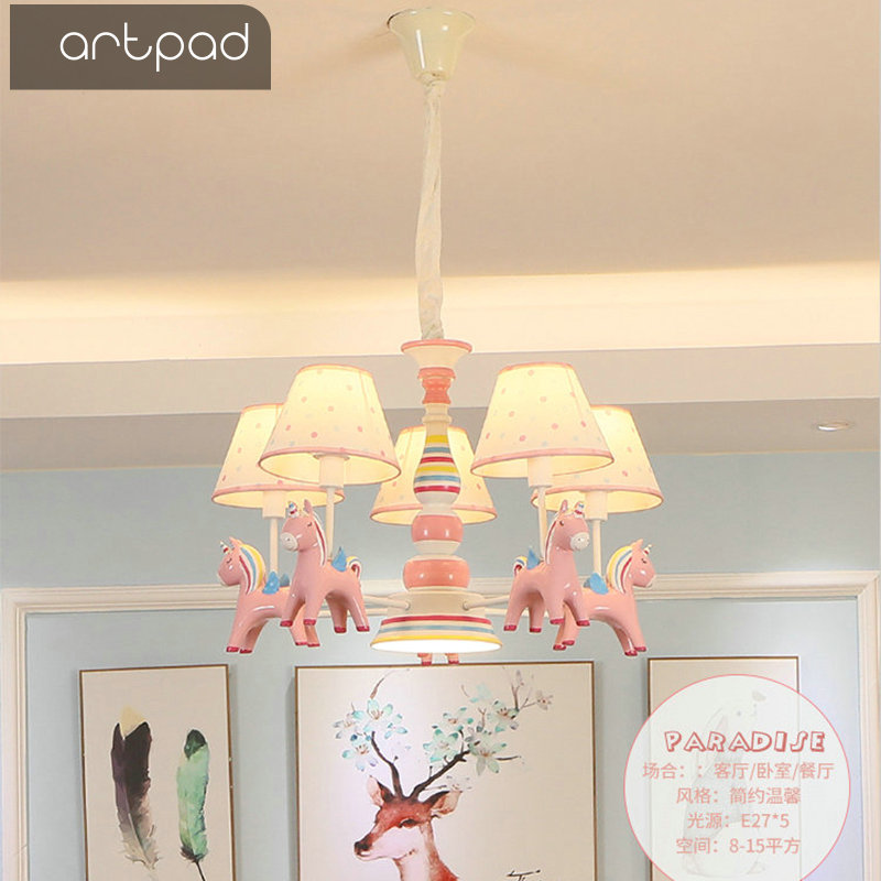 Artpad Cartoon Kawaii księżniczka sypialnia światła wiszące tkaniny kinkiety koń żywiczny E27 regulowana dioda różowy wisiorek światło dzieci dziewczyna