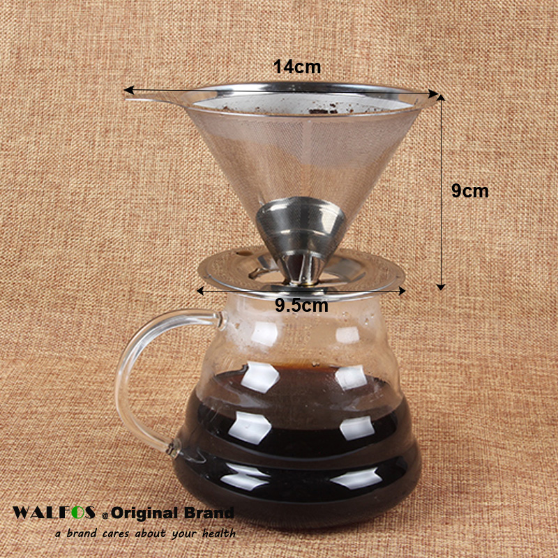 LEVEL Cone Shape Permanent Coffee Filter Washable Stainless Steel ...