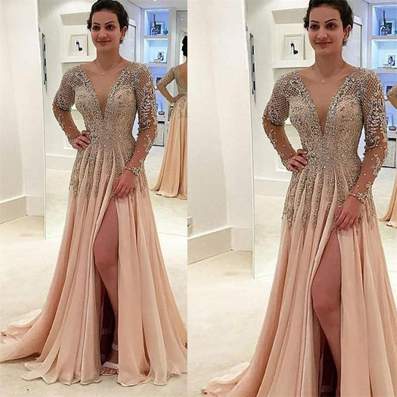 Robes De bal en cristal à manches longues perlées Champagne Robe De soirée élégante robes De soirée Robe De soirée