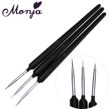 3pcs/set Nail Art Painting Liner Brushes UV Gel Polish Tips French Lines Stripe Grid 3D Petal Flower Dotting DIY Drawing Pen