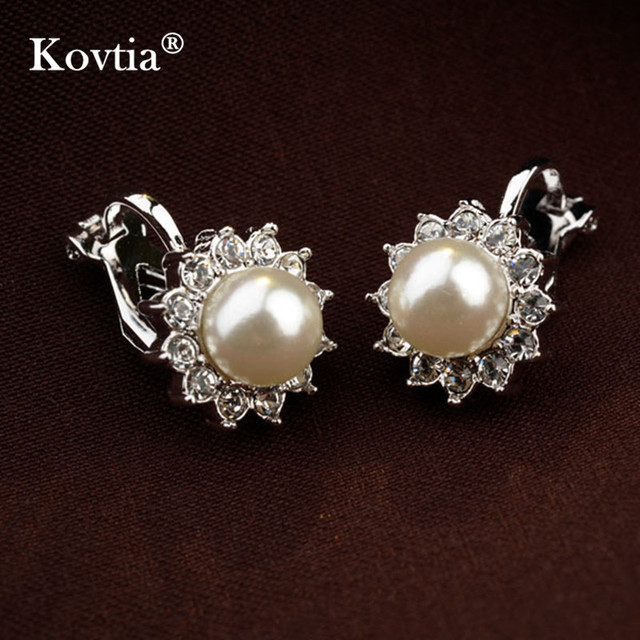 KOVTIA New Simulated Pearl Clip Earring Without Piercing White Gold Color Ear Cuff Jewelry Clip On Earrings For Women Girls