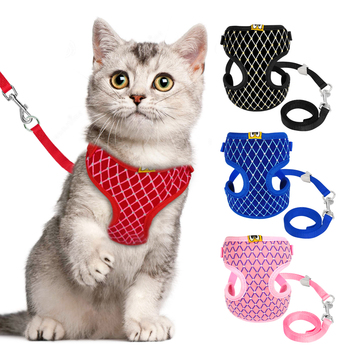 Mesh Harness and Leash Set Rhinestone Breathable Collar Harnesses Vest