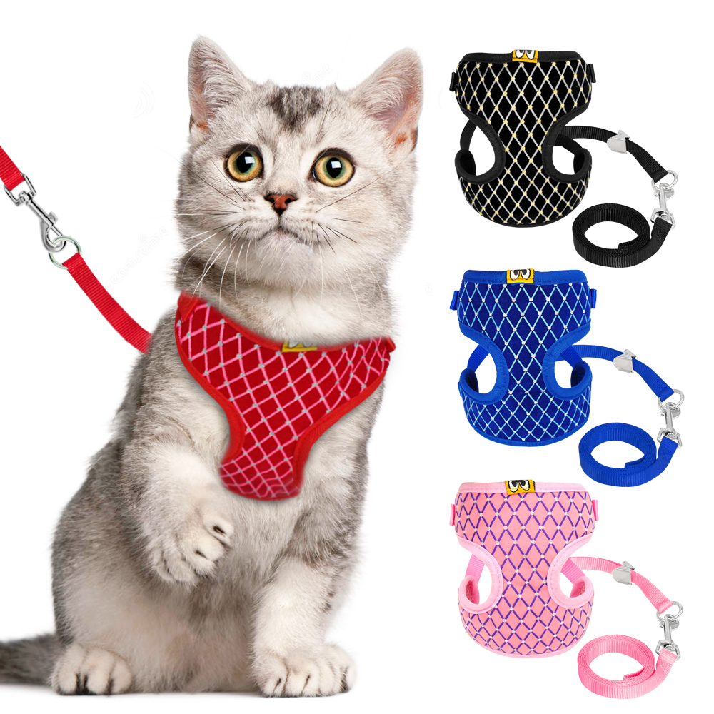 Mesh Cat Harness And Leash Set Rhinestone Breathable Cat Collar Harnesses Vest Pet Traction For Small Medium Dog Cat Puppy