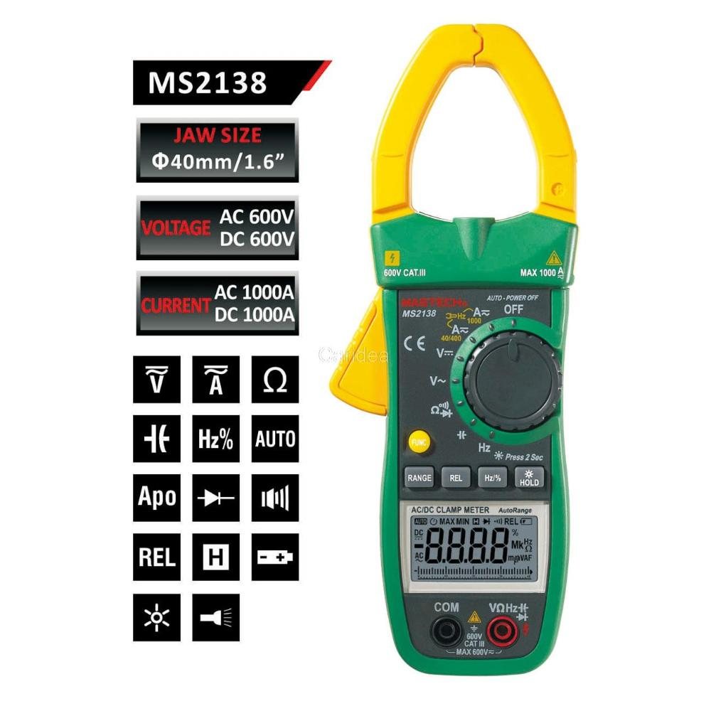 Mastech MS2138 Digital Clamp Meter Multimeter DC/AC Voltage Current 1000A Pinza Amperimetrica LCD Multimetro Diagnostic-tool free shipping mastech ms2138 ac dc digital clamp meterac dc digital clamp meter