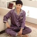 Conjuntos de homens de Pijama de Cetim de Seda Pijamas Sleepwear Loungewear Pijama Pijamas Set L-3XL Manga Longa Two-Piece Suit