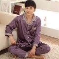 Hombres Pijama de Satén de Seda Ropa de Dormir ropa de Dormir Pijamas Loungewear Pijama pijama Conjunto L-3XL de Manga Larga Traje de Dos Piezas