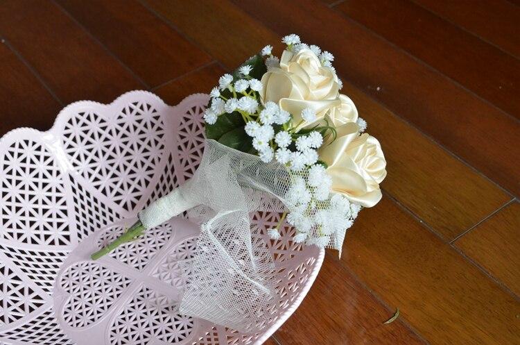 Қолмен жасалған Silk Satin Роза гүлі 3 - Үйлену керек-жарақтары - фото 4