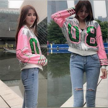 Greek Fashion lady streetwear coat 08 sequins zip up long sleeve sporty bat sleeved Aka pink and green Sorority jackets 1