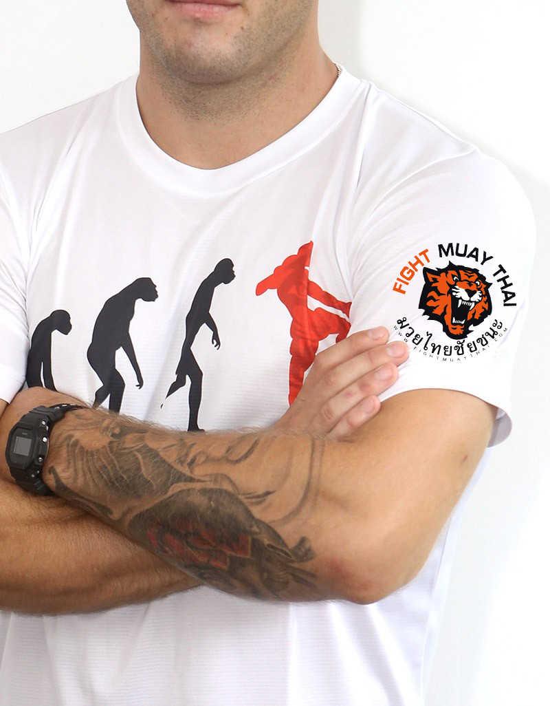 Vszap Pria T-shirt Ketat Cepat Kering Lengan Pendek Tiger Evolution MMA Pertempuran Kebugaran Muay Thai Sanda Berjuang T Shirt