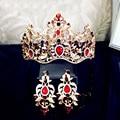 luxury brand crystal hairband bridal jewelry baroque metal gold flower headband queen crown hair clasp women wholesale