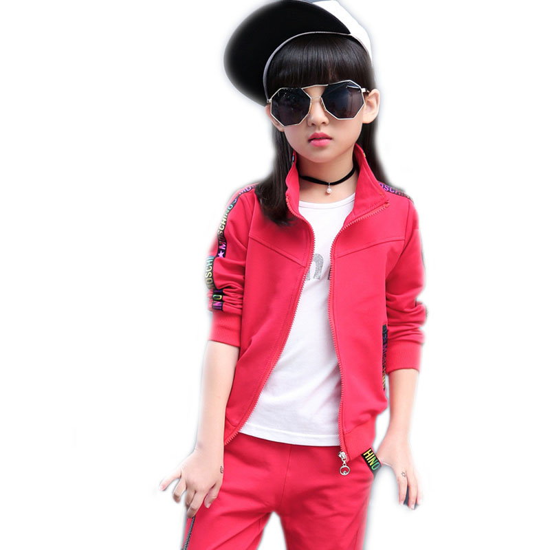 2017 girls spring sports sets 2pcs kids clothing sets girls teenager sports suit kids coloful letter printed girls jackets+pants