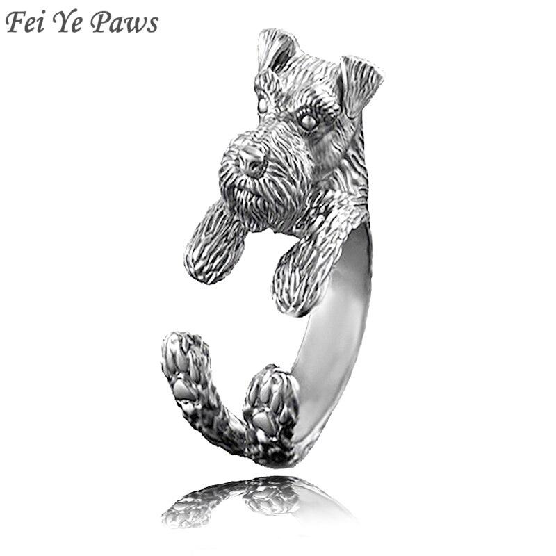 Fei Ye Paws Miniature Schnauzer & Rat Terrier Dog Ring Men Anel Animal Pet Dog Wedding