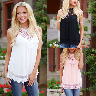 Blusas 2016 New Arrival Women Summer Style Lace Crochet Chiffon Blouse Sleeveless Casual Tops Lace Hollow Solid Shirts Plus Size
