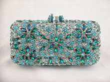 8138 BLUE Crystal Floral flower Wedding Bridal Party hollow Metal Evening purse clutch bag handbag case