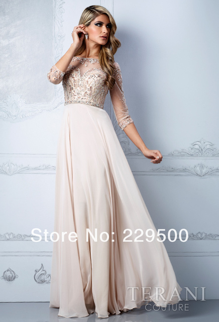2014 New Arrival Beige Long Chiffon Beading Crystal Prom Dresses Party  Formal Gown 3 4 Sleeves Evening Dress 3ffe511eac03