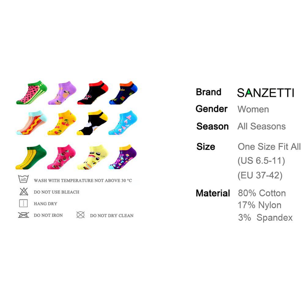 Image 2 - SANZETTI 12 Pairs/Lot Women Summer Casual Colorful Ankle Socks Happy Combed Cotton Short Socks Novelty Pattern Boat Gifts Socks-in Socks from Underwear & Sleepwears