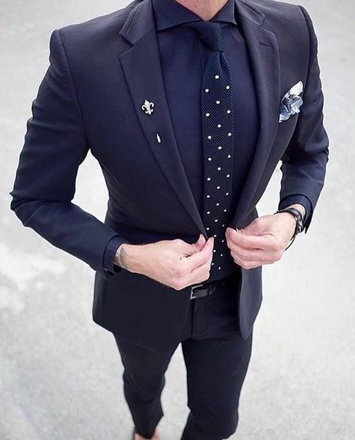 Online Shop 2017 Latest Coat Pant Designs Navy Blue Wedding Suits ...