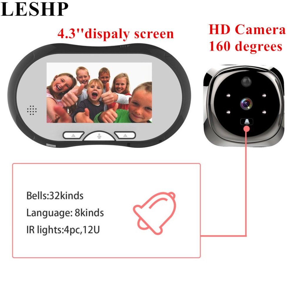 LESHP HD Camera Video Intercom Door Phone Night Vision Indoor Monitor 4.3 Inch TFT LCD Display Electronic Cat Doorbell homefong security 4 tft lcd screen night vision video door phone intercom doorbell kit hd 800tvl 2 indoor unit 2 outdoor unit