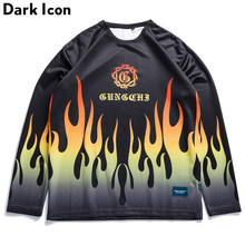 DARK ICON Flame Printed Loose Round Neck Hip Hop T-shirt Men Long Sleeve 2019 Autumn Oversize Men's T shirts Streetwear Clothing(China)