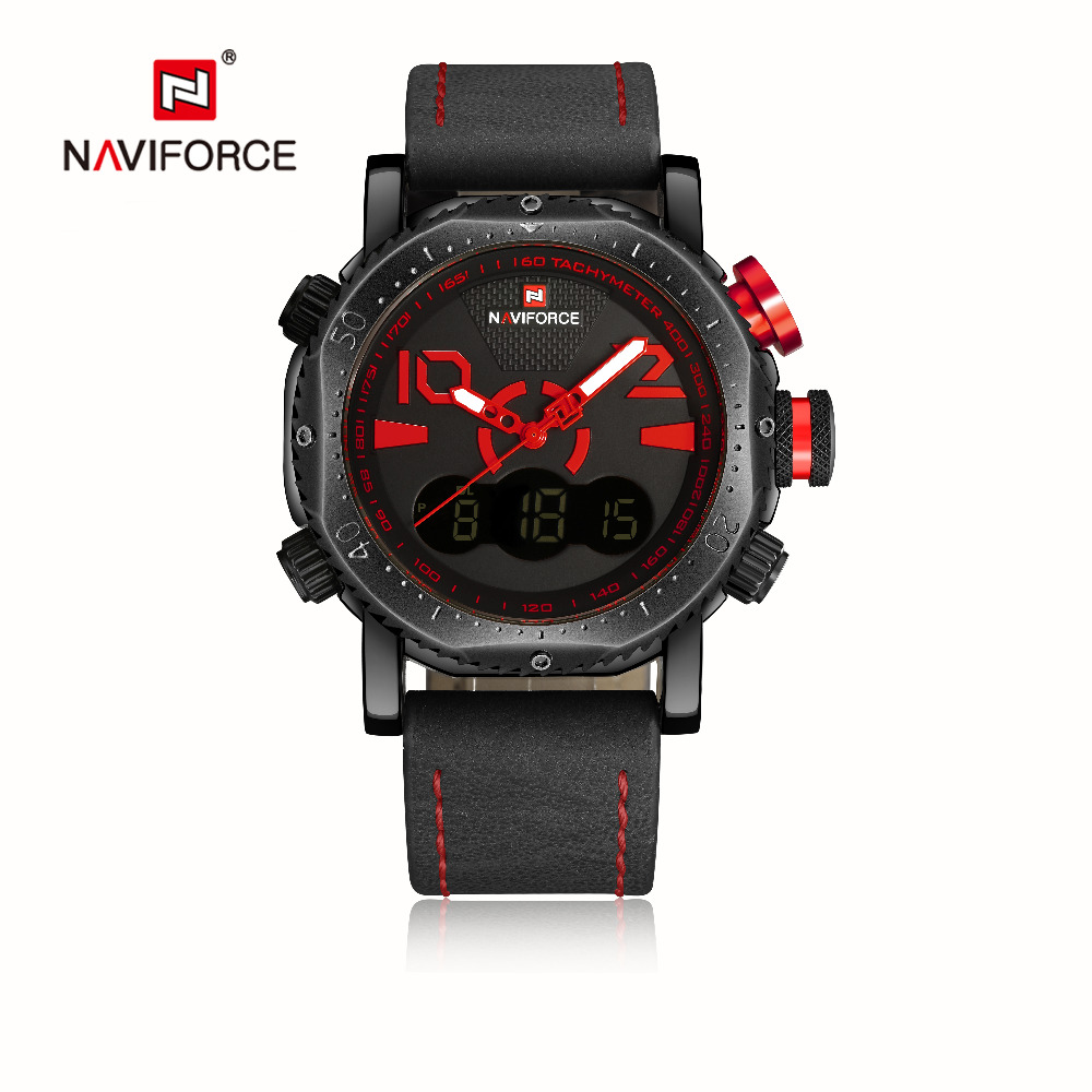 New Sport Men Watch Naviforce 9094 LED Digital Analog Electronic Quartz Watches Waterproof Male Clock Relogio Masculino Calendar splendid brand new boys girls students time clock electronic digital lcd wrist sport watch