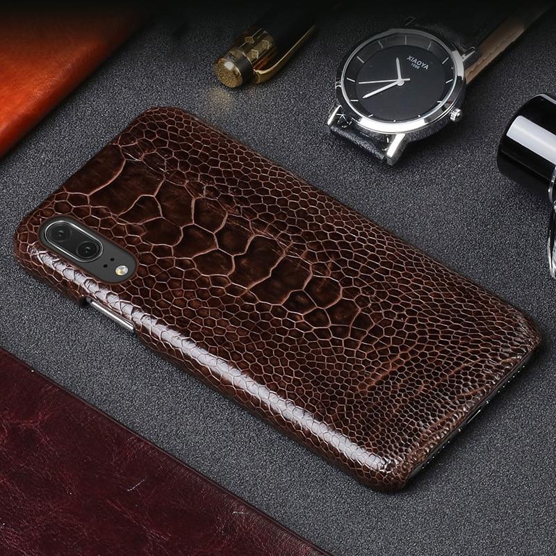 JUNDONG Luxe en cuir téléphone étui pour huawei P20 d'autruche pied peau coque de téléphone de mode de protection pour téléphone portable coque arrière