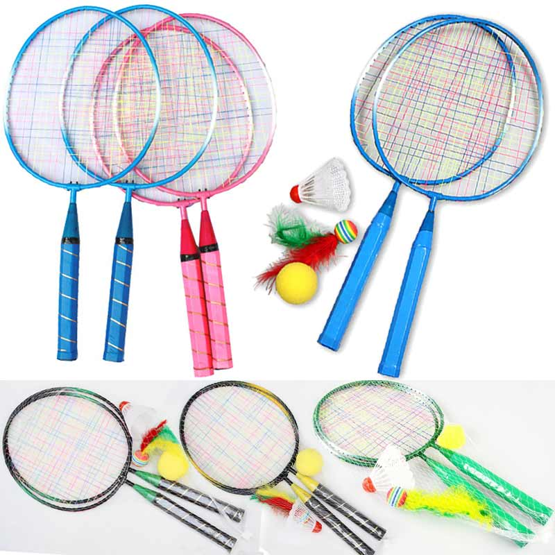 1 Pair Youth Children\'s Badminton Rackets Sports Cartoon Suit Toy For Children Outdoor Entertainment Badminton Rackets