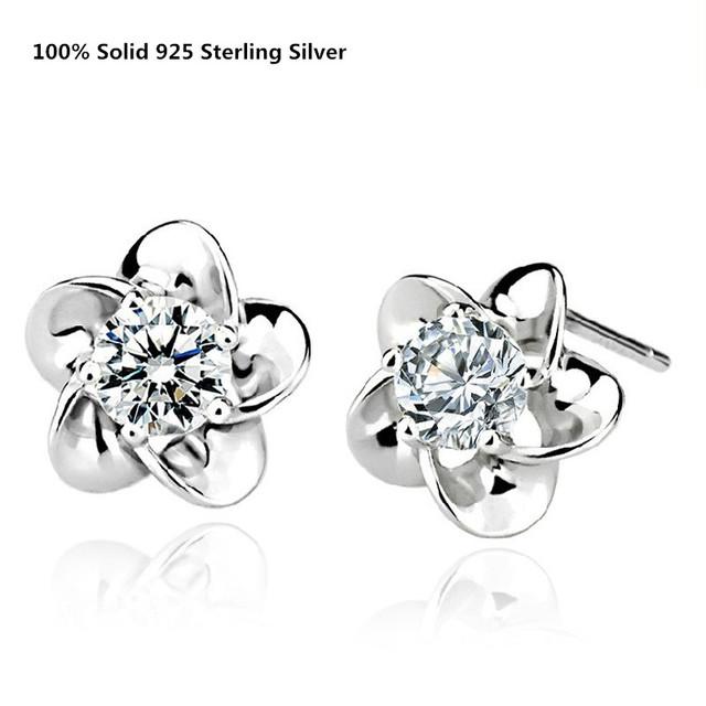 100% Genuine Sólido 925 Sterling Silver Stud Brincos Branco/Roxo Cubic Zirconia Flor Bonito Do Parafuso Prisioneiro Da Orelha Brincos Feminino