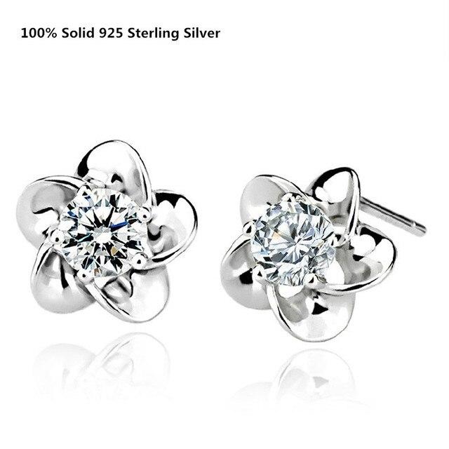 100% Genuine Solid 925 Sterling Silver Stud Earrings White/Purple Cubic Zirconia Cute Flower Ear Stud Earrings Female