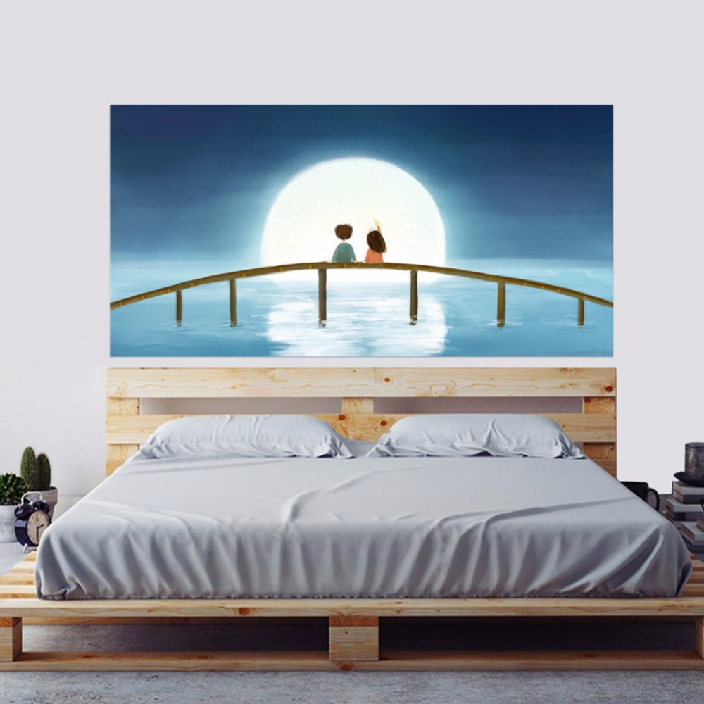 2pcs/set 3D DIY Moon Kids Wooden Bridge Bedside Art Mural Sticker Home Decor Cartoon Chi ...