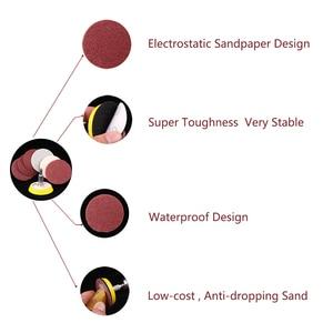 Image 3 - Абразивные шлифовальные насадки 50 шт., 2 Дюймовая красная круговая наждачная бумага 60/80/120/150/180 + 1 шт., пластина с липучкой, подходит для Dremel