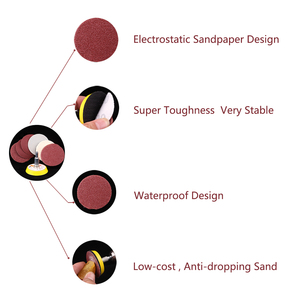 Image 3 - Abrasive polishing grinding nozzles 50pcs 2 inch red circular  sandpaper 60/80/120/150/180+1pc Hook Loop Plate fit Dremel