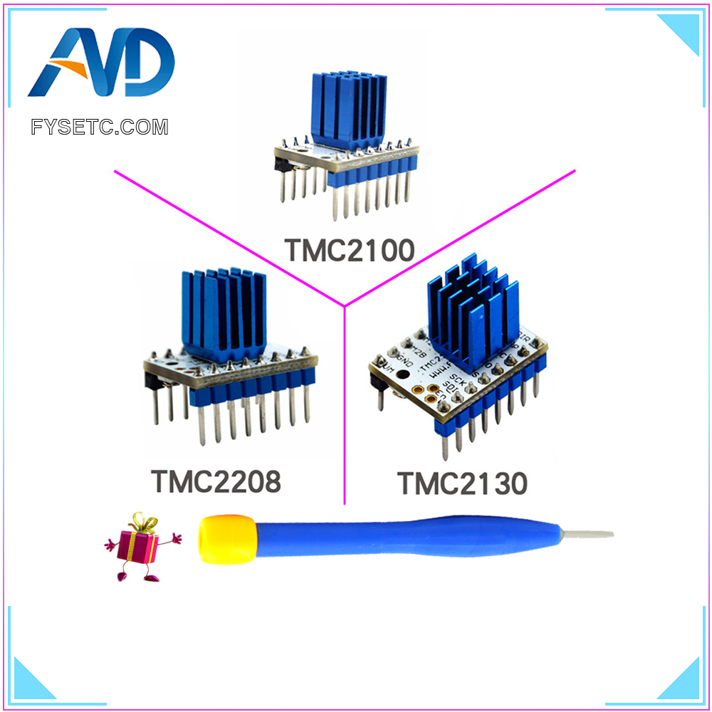 TMC2100 V1.3 TMC2130 TMC2208 V1.0 Motore Passo-passo StepStick Driver Muto Silenzioso Eccellente Stabilità E Protezione Con Dissipatore di Calore