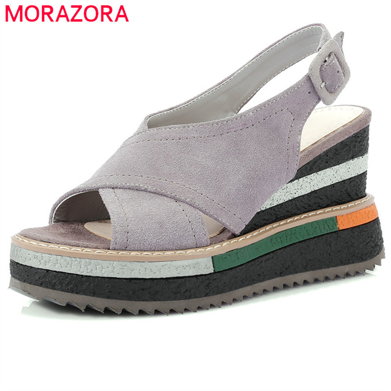 MORAZORA 2018 hot sale women sandals suede leather summer shoes peep toe buckle casual shoes platform wedges high heels shoes morazora 2018 new women sandals summer sweet bowknot comfortable buckle spike high heels platform shoes peep toe shoes woman