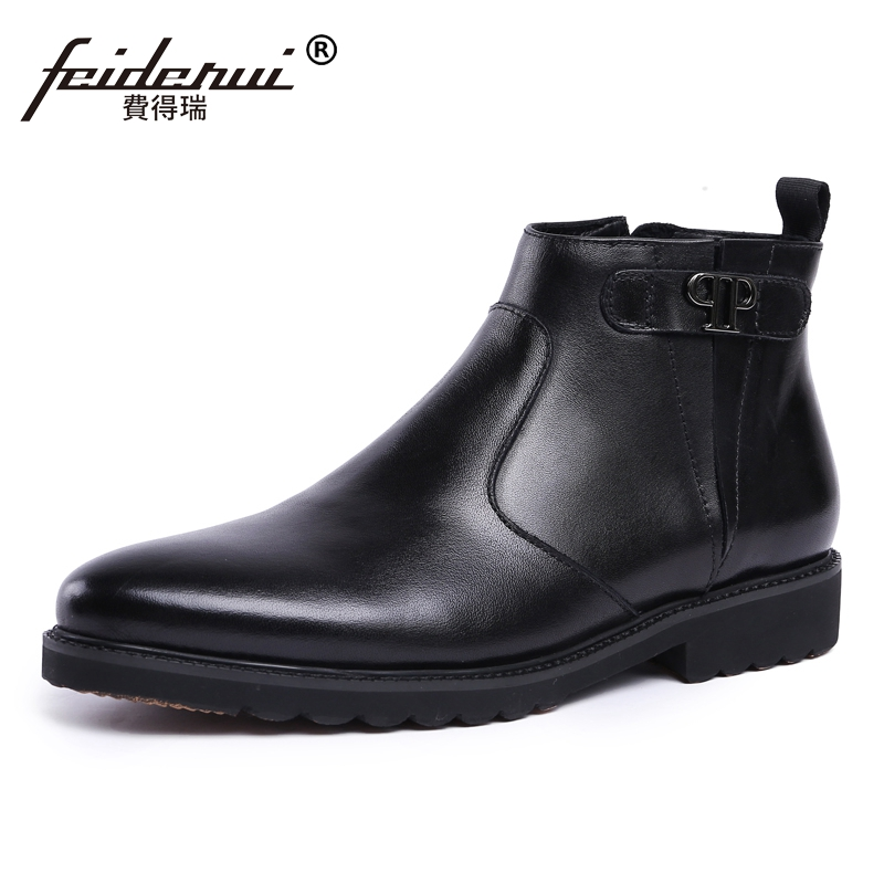 New Formal Wedding Round Toe Handmade Man Platform High-Top Shoes Luxury Genuine Leather Mens  Cowboy Ankle Boots JS18New Formal Wedding Round Toe Handmade Man Platform High-Top Shoes Luxury Genuine Leather Mens  Cowboy Ankle Boots JS18