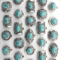 Vintage Style Semi-precious Stone Adjustable Rings Free Shipping 24pcs Wholesale